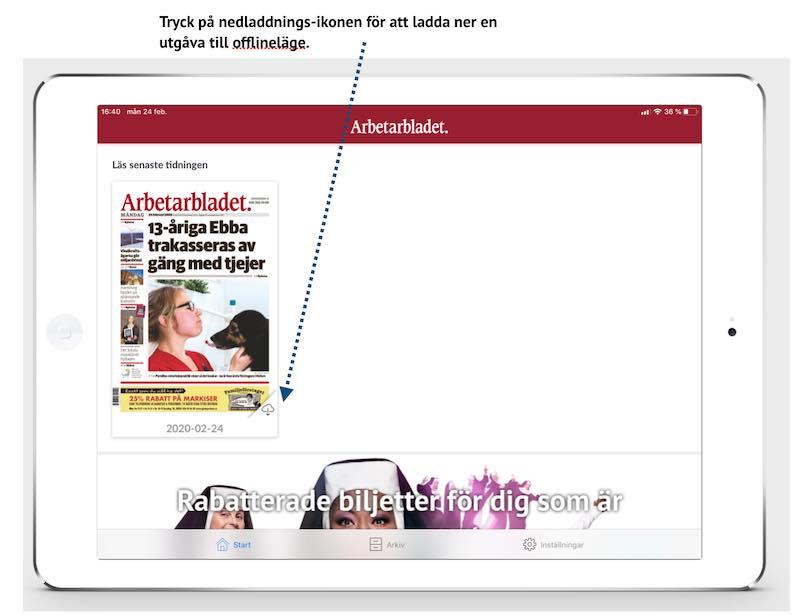 Ladda ner e-tidning för offline-läsning
