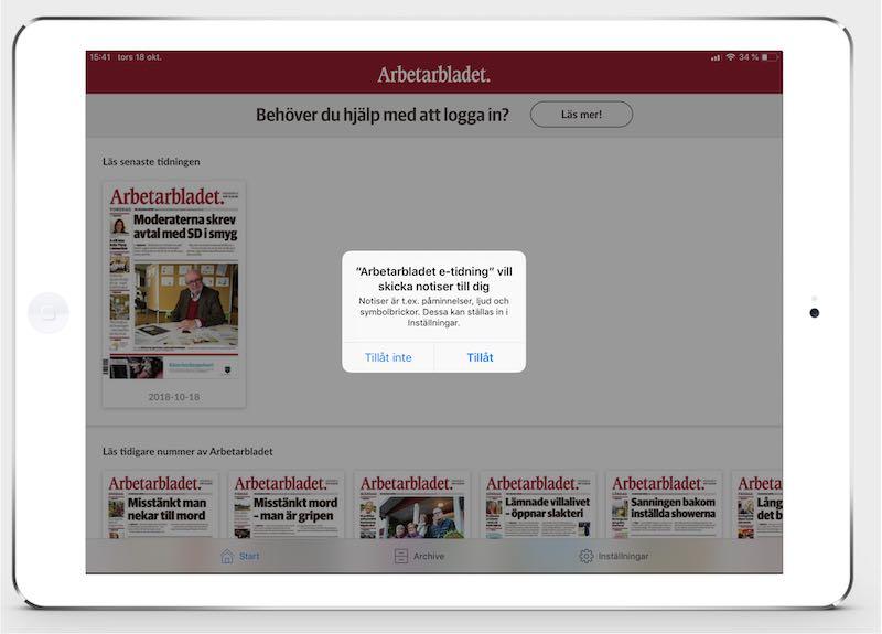 e-tidningsapp pushnotiser