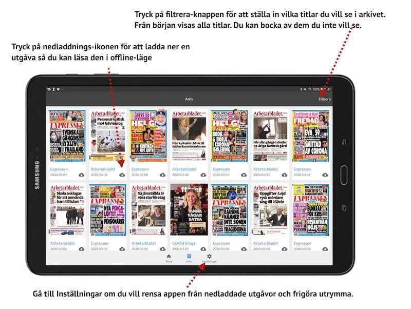 E-tidningsapp Android arkiv